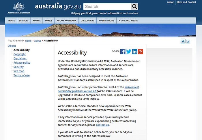 Screenshot of page from Australian Government website that talks about accessibility