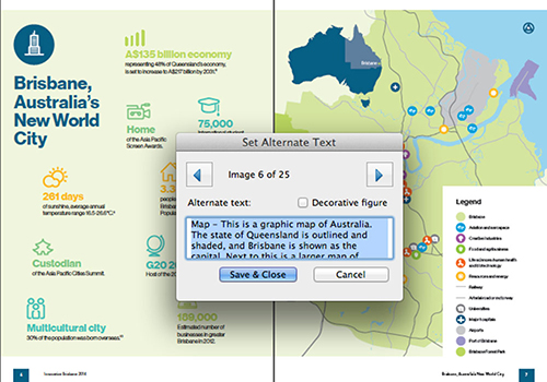 A page from a travel website with a map of Brisbane having its alt text being set to a relevant description of the map information